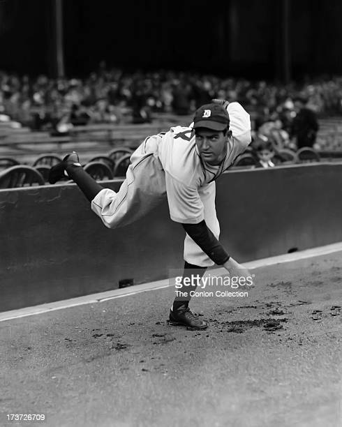 Schoolboy Rowe of the Detroit Tigers throwing a ball