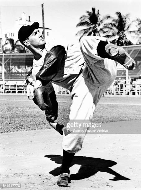 Schoolboy Rowe pitcher with the Philadelphia Phillies throwing a pitch during spring training in 1947