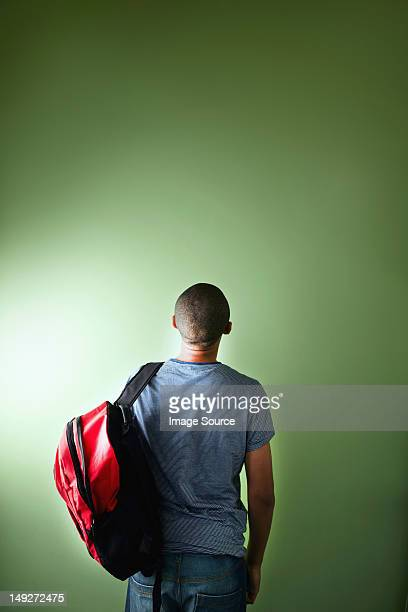 Schoolboy with backpack, rear view