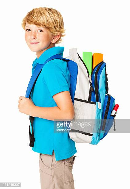 schoolboy with his bag - isolated - schoolboy stock pictures, royalty-free photos & images