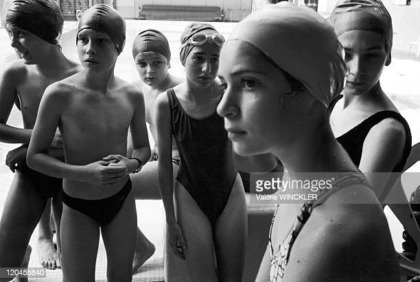 Schoolboys in France in 1993 5th class at the swimming pool