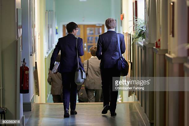 Schoolboys make their way to class at Altrincham Grammar School for Boys on September 8 2016 in Altrincham England The British government has...