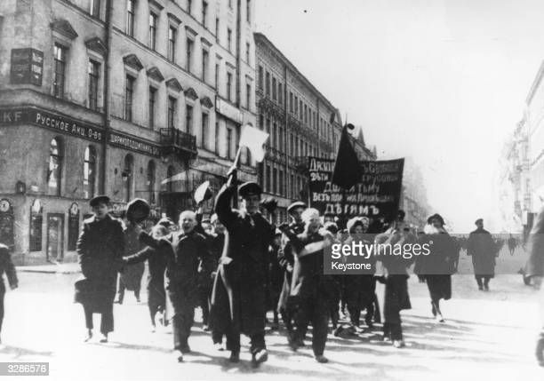 Schoolboys march in protest through Petrograd during the Russian Revolution