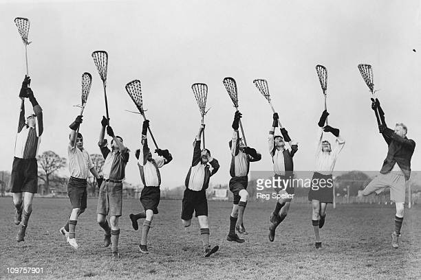 Schoolboys taking part in lacrosse practice at Sidcup County School in Kent 19th January 1938 The school is one of the first in Britain to introduce...