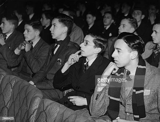 Schoolboys watching 'Things To Come' an Alexander Korda film giving a chilling view of life after a war in 1940 which proved chillingly accurate It...