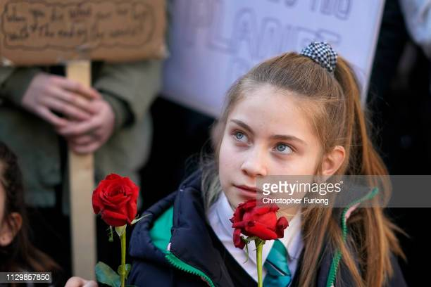 Schoolchildren and students take part in a student climate change strike on February 15 2019 in Manchester United Kingdom Thousands of UK pupils from...