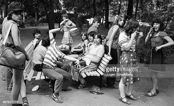 Schoolchildren at a park in East Berlin Germany 1984
