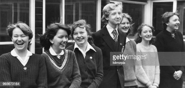 Schoolchildren at Ellergreen Comprehensive School Norris Green Liverpool 5th April 1980 Pictured left to right Sarah Pickstock Gail Woodward Alison...