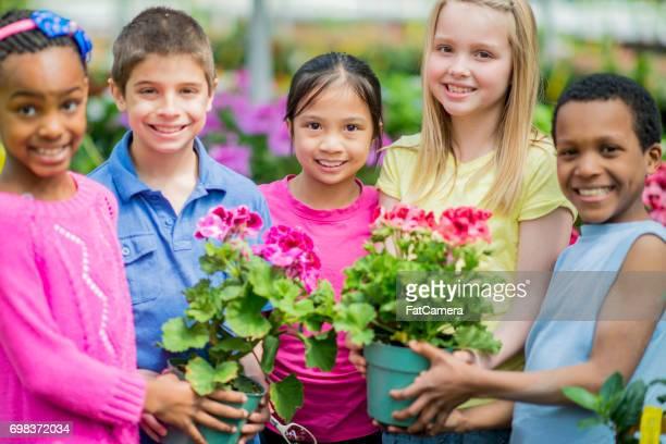Schoolchildren Enjoying Gardening Inside a Greenhouse