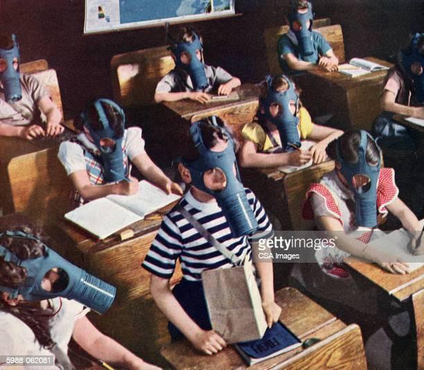 Schoolchildren in Gas Masks