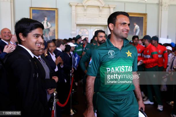 Schoolchildren in the Pavilion at Lord's with Pakistan's Fakhar Zaman on July 5, 2019 in London, England. History was made at Lord's when local...