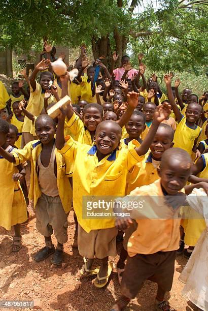 Schoolchildren in the village of Senfi in the Ashanti Region of Ghana, West Africa.