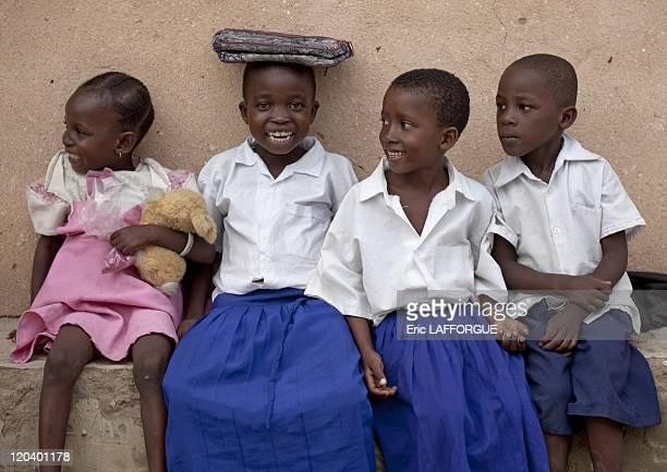 Schoolchildren Kilwa Kivinje village in Tanzania on February 06 2009 Coming out of school