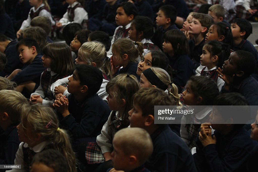 Schoolchildren listen to New Zealand Prime Minister John Key as he opens a new classroom block at the Westminister Christian School on May 15, 2012 in Auckland, New Zealand. The Prime Minister is conducting events in Auckland today before heading to Gisborne for appearances tomorrow.