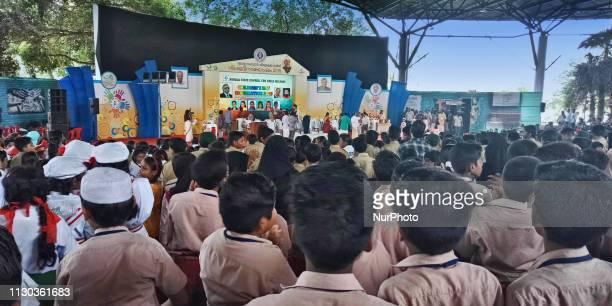 Schoolchildren listen to speeches during a special program celebrating International Children's Day in Thiruvananthapuram Kerala India on November 14...