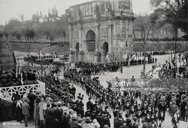 Schoolchildren saluting Benito Mussolini celebrations on April 21 the Arch of Constantine Rome Italy from L'Illustrazione Italiana Year LII No 18 May...