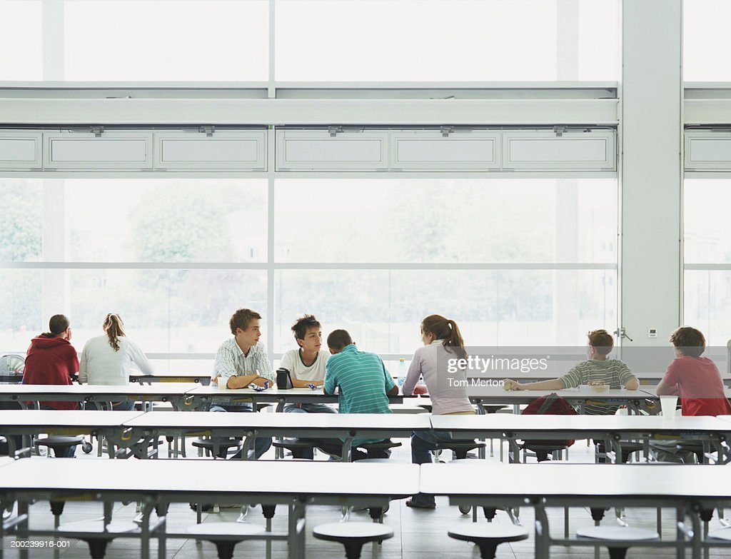 Schoolchildren (12-16) sitting at tables in canteen : Stock Photo