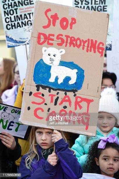 Schoolchildren take part in a nationwide student climate march in George Square on February 15 2019 in Glasgow United KingdomThousands of UK pupils...
