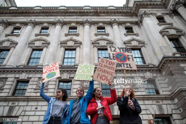 Schoolchildren take part in a student climate protest on March 15 2019 in London England Thousands of pupils from schools colleges and universities...