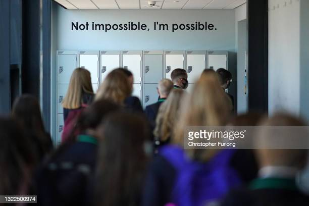 Schoolchildren walk through a corridor at the BBG Academy in Batley and Spen during a visit by Kim Leadbeater, labour candidate for the Batley and...