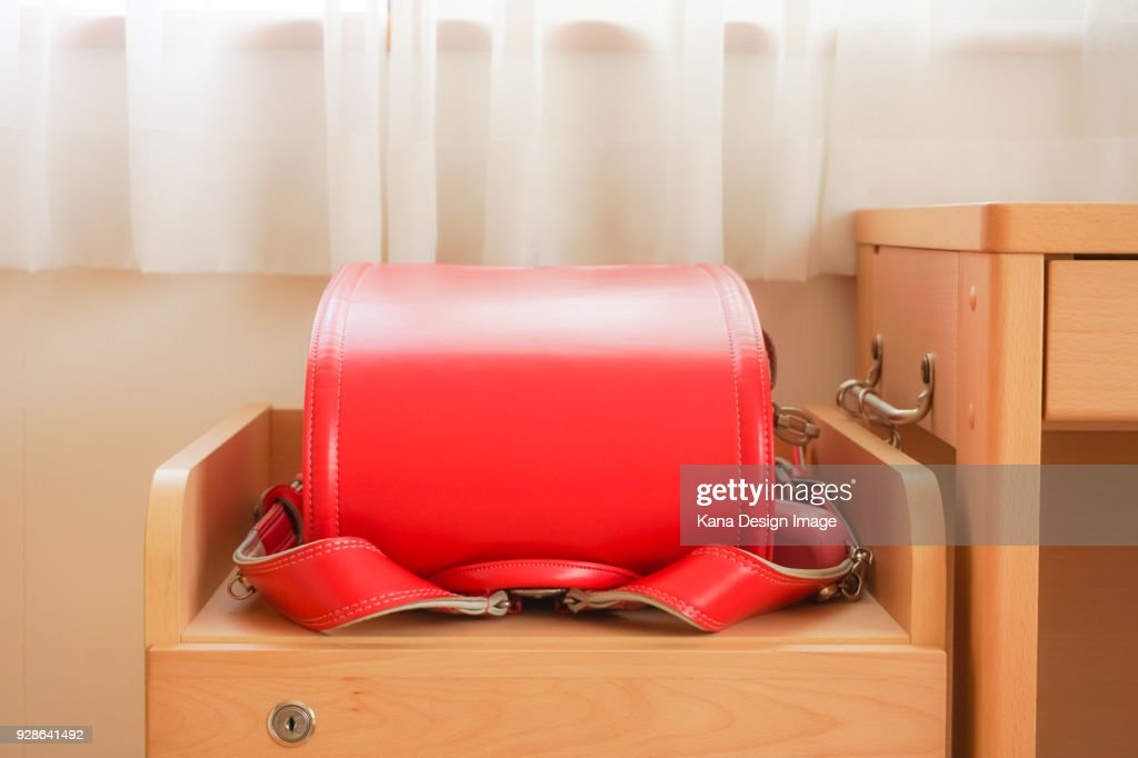 A schoolchild's satchel, Japan. : Stock Photo