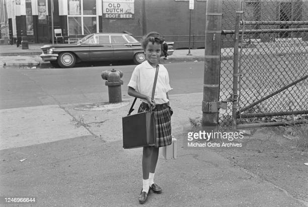 A schoolgirl in Chicago USA probably in the Near North Side 12th September 1966