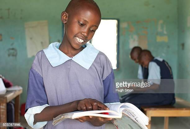 Schoolgirl (10-12) in Primary School, Maasai area, Kenya