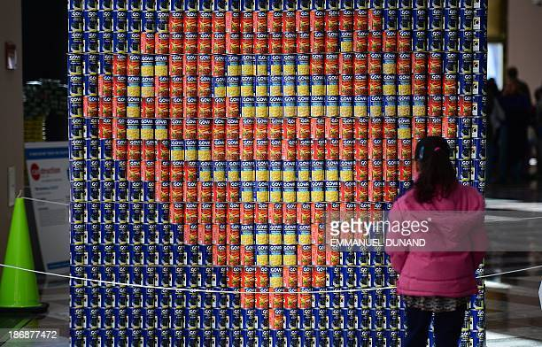 A schoolgirl looks at a Superman logo made out of food cans during the 21st annual 'Canstruction' exhibition and food drive in New York November 4...