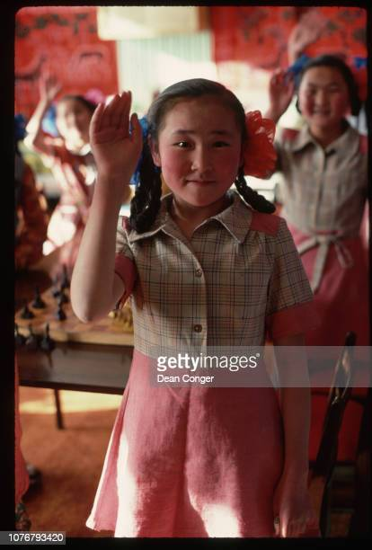 Schoolgirl Raising Her Hand Mongolia
