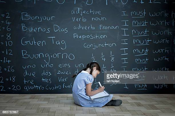 Schoolgirl sitting studying in front of large chalkboard with schoolwork chalked on it