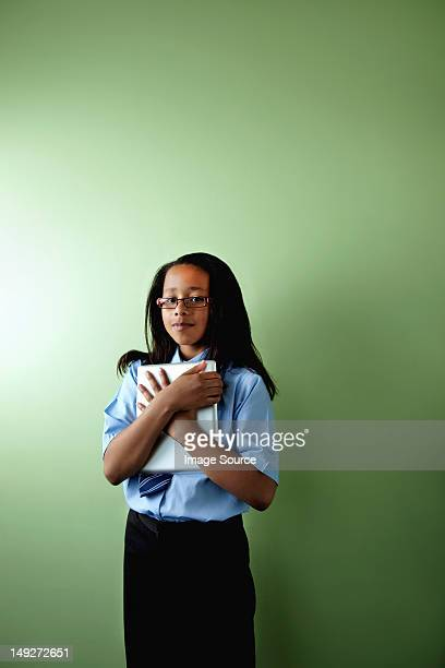 schoolgirl with digital tablet - girl chest stock photos and pictures