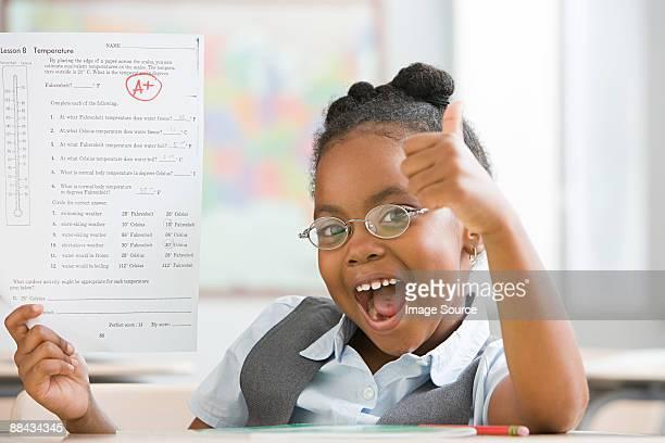 Schoolgirl with top grade