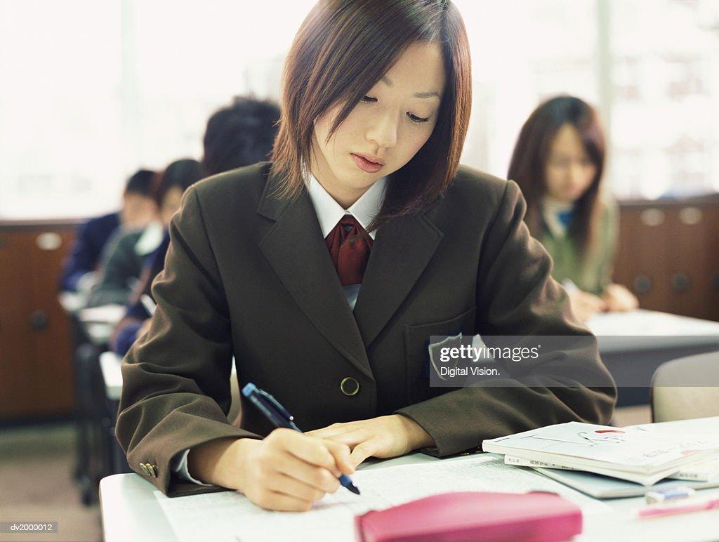 Schoolgirl Working in a Classroom : Stock Photo