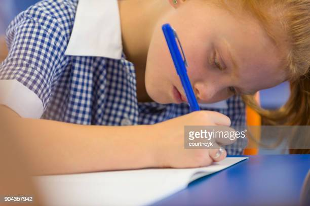Schoolgirl working in classroom.