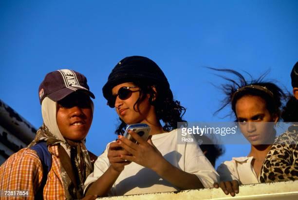 Schoolgirls are seen during a picnic by Ein Dabban Lake April 2000 in Ein Dabban Lake Libya