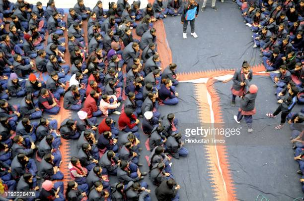 Schoolgirls during a workshop on selfdefence organised by Noida administration at a government school Sector 51 on January 6 2020 in Noida India