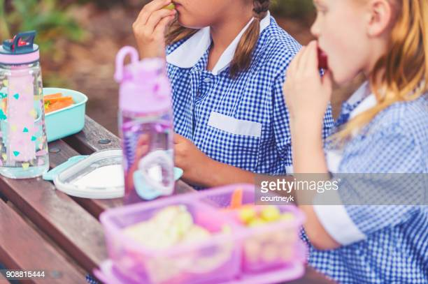 Schoolgirls eating a healthy lunch.