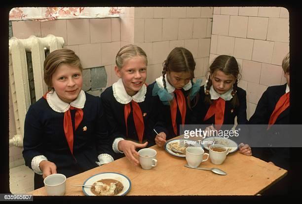 Schoolgirls Eating Lunch