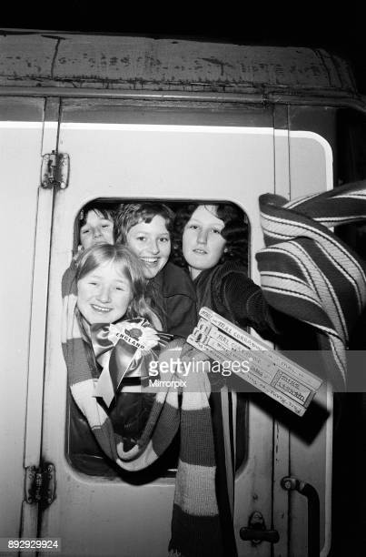 Schoolgirls from Hodge Hill Grammar School aboard the 'gymslip special' at New Street Station to watch a hockey match at Wembley 9th March 1974