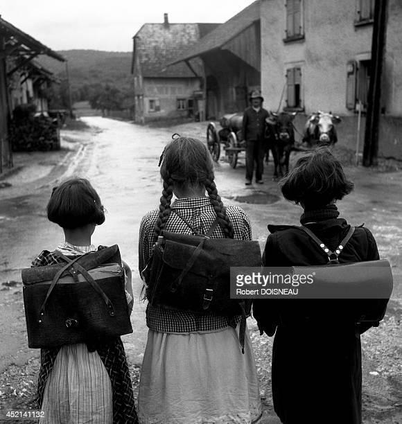Schoolgirls Sondersdorf in Alsace 1945 in Sondersdorf France