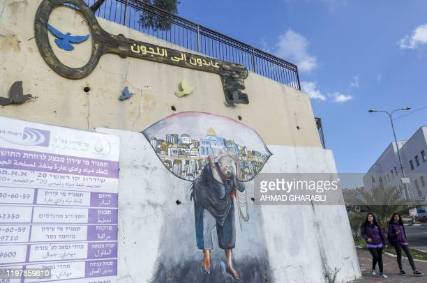Schoolgirls walk past a mural in the ArabIsraeli town of Umm alFahm which lies 60 kms north of Tel Aviv in northern Israel on January 30 2020 In...