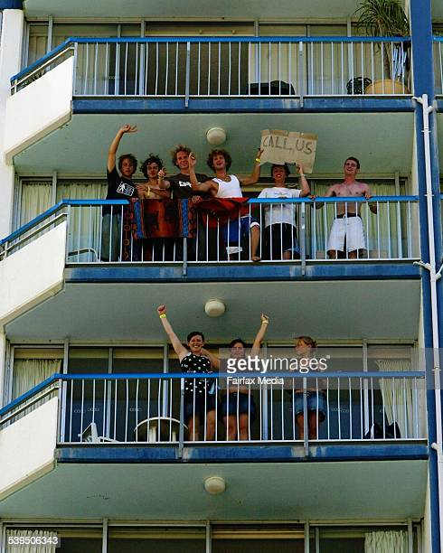 Schoolies week on the Gold Coast Queensland Schoolies get into the swing of party mood from their hotel rooms Sunday 23 November 2003 THE SUNDAGE AGE...