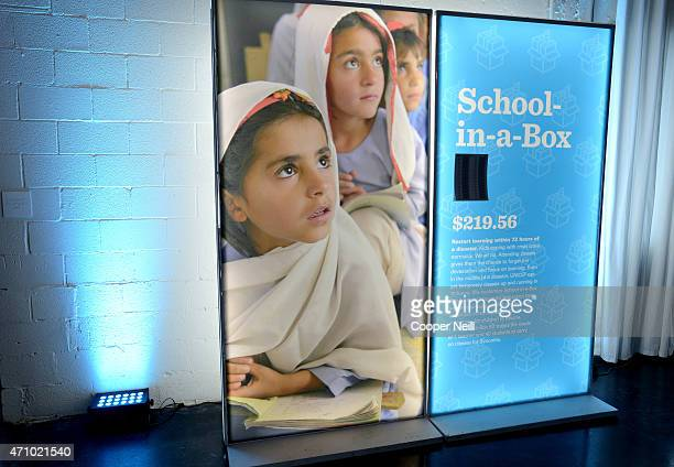 'SchoolinaBox' exhibit displayed at Children First An Evening with UNICEF an event celebrating American Airlines' charitable contributions on April...