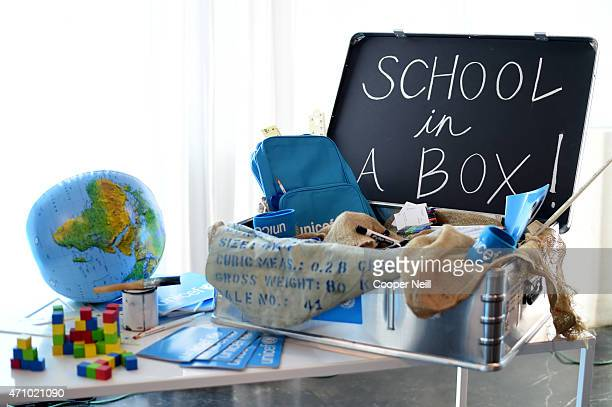 'SchoolinaBox' on display during Children First An Evening with UNICEF an event celebrating American Airlines' charitable contributions on April 24...