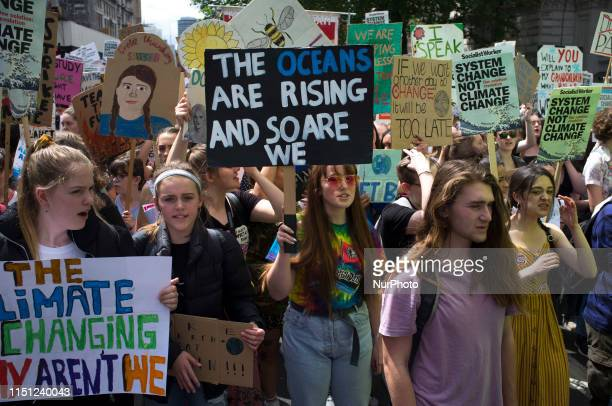 Schoolkids gather at Parliament Square to protest against Climate change rising awareness of the damage and the risk of Global Warming London on June...