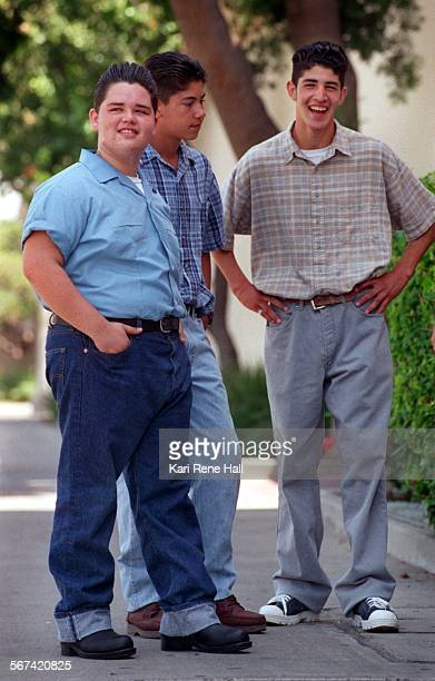 Robert Duarte wears the rebel look while he hangs out with friends Jose Alfredo Jimenez 5 and Mario Reynoso wearing the GQ look at lunch break at...