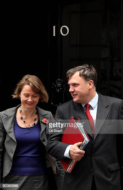 Schools Secretary Ed Balls and his wife Yvette Cooper the Secretary of State for Work and Pensions leave Number 10 Downing Street after the weekly...