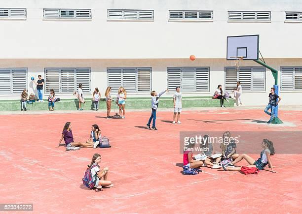 schoolyard - schulhof stock-fotos und bilder