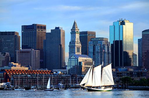 Schooner along the Boston Harbor Skyline 486924520