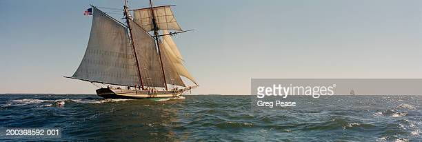 Schooner at sea, side view (Digital Enhancement)